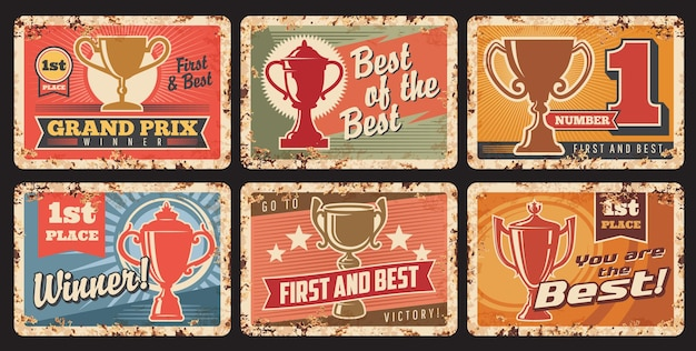 Winner award, trophy cup and champion prize vector tin signs. sport championship or achievement reward gold goblets and bowls, stars and ribbons grunge metal banners with rusty effect, success design