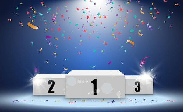 Winner background with signs of first, second and third place on a round pedestal. winner podium sports symbols.
