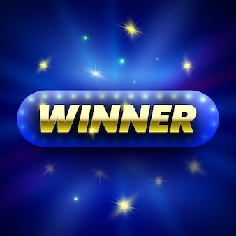 Winner banner on blue background with sparks.  illustration.
