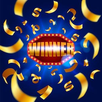 Winner banner, falling ribbons winner. winners lottery game jackpot prize