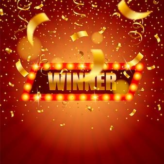 Победитель баннер, падающие ленты победителя.