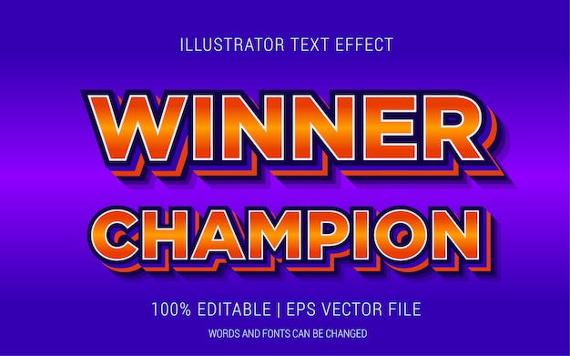 Winner champion text effects style Premium Vector
