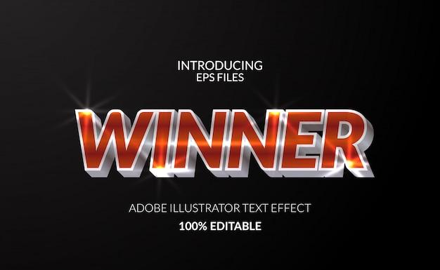 Победитель чемпион с металлическим хромовым эффектом сияющего цветного текста. редактируемый текст и шрифт. глянцевый сияющий эффект