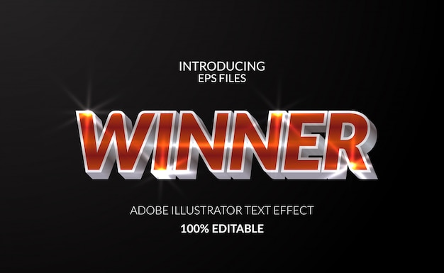 Winner champion with metal chromium shining color text effect. editable text and font. glossy shining effect