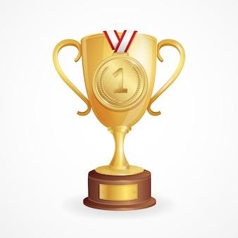 勝者のコンセプト。ゴールデンカップとメダル。