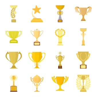 Winner cup cartoon vector icon set. vector illustration of award winner cup .