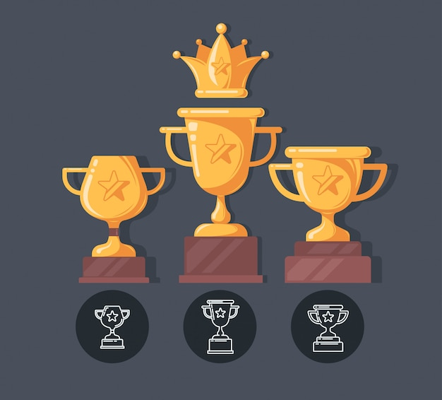 Winner cup flat icons. reward illustration in cartoon style.