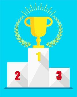 연단에 우승 컵입니다. 경쟁에서 1 위. 스포츠, 경쟁, 개인 성장 및 팀워크에서의 승리의 상징. 평면 벡터 일러스트 레이 션.