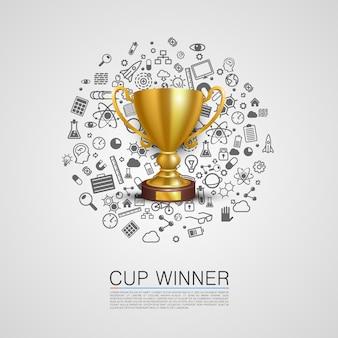 Кубок победителя набор иконок искусства. векторная иллюстрация