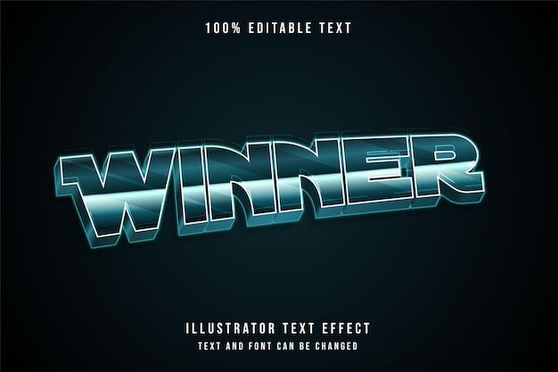 Winner editable text effect with green gradation