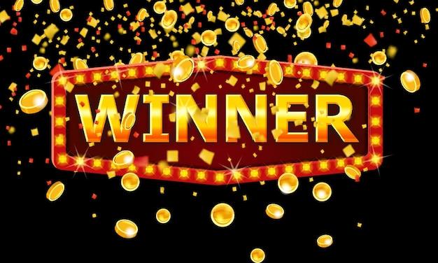 Ярлык рамки победителя блестящий баннер с горящими лампами и лентами конфетти золотых монет