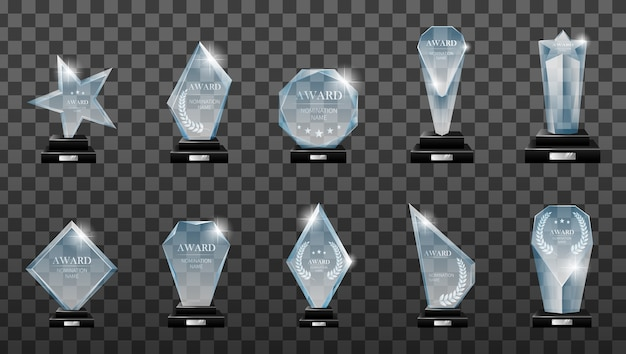 Winner glass trophy. glass trophy award. first place award, crystal prize and signed acrylic trophies.