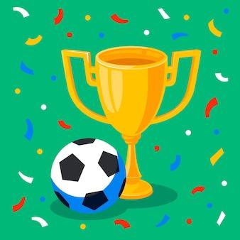 Победитель золотой кубок футбольный мяч и конфетти