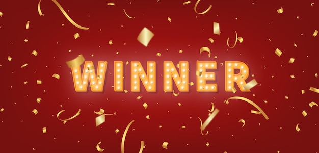 Winner gold marquee template. light bulb text and confetti for winner congratulations.