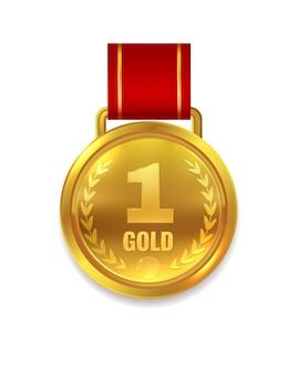 우승자 금메달. 인증서 또는 1등 도전 트로피를 위한 빨간 리본이 있는 최우수상