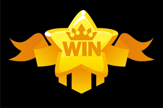 Золотая звезда победителя с наградной лентой, баннер приложения для пользовательского интерфейса игры