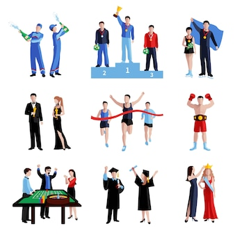 Winner icons set with sport education and arts