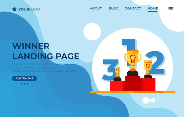 Winner landing page with thropy