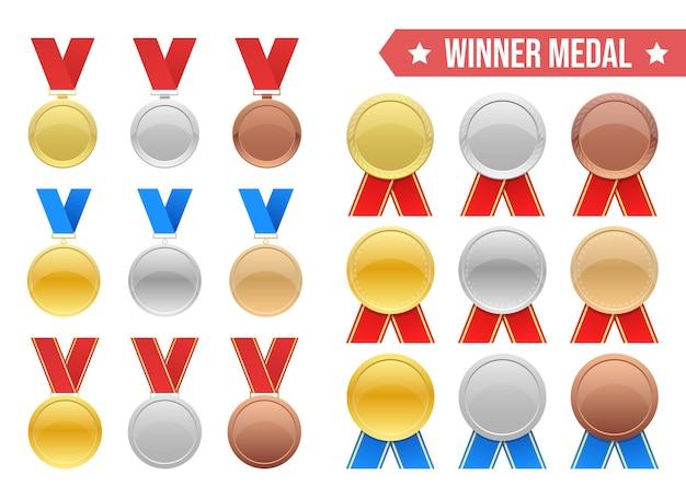 우승자 메달 그림 흰색 배경에 고립