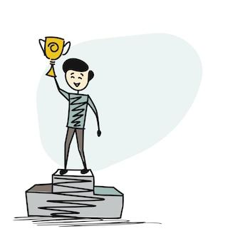 Победитель мужчины, стоящие на пьедестале почета, держат в руках трофей.