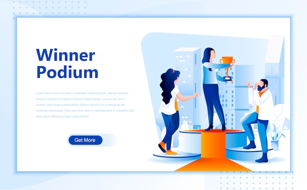 Winner podium flat landing page template of homepage