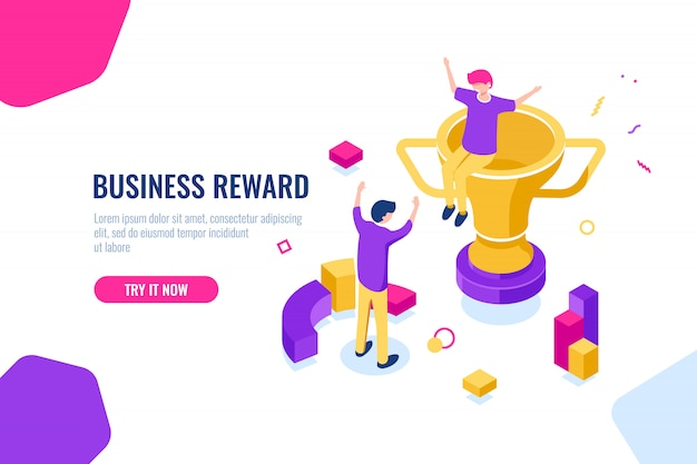 Winner reward isometric, business success, golden cup, people are happy to put their hands up