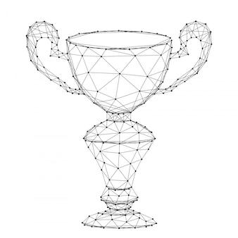 ウィナーズカップ、抽象的な未来的な多角形の黒い線とドットからのオンライン報酬。ベクトルイラスト。