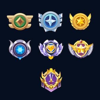 Winner's medal diamond reward badges set for game ui