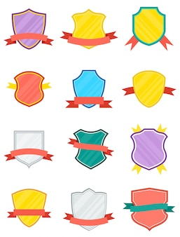 Winner shield with ribbon isolated set