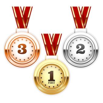 리본에 우승자 실버, 브론즈 및 골드 메달