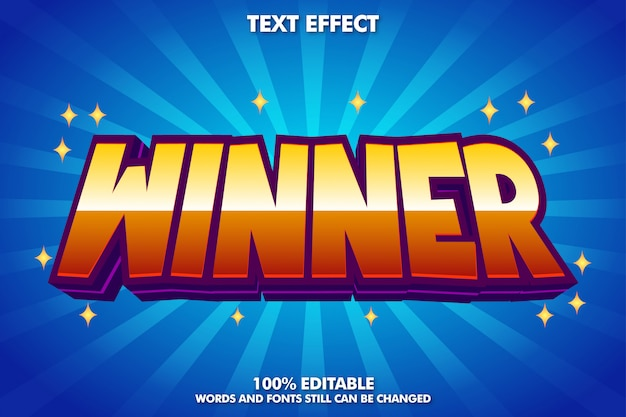 Winner sticker, editable cartoon text effect