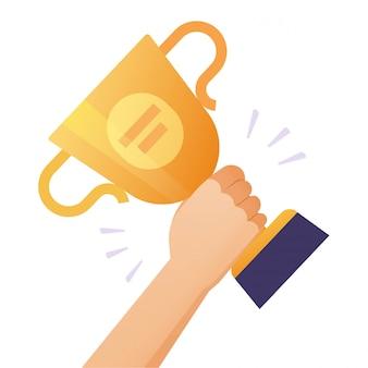 勝者成功賞ゴールドカップまたは賞金達成報酬トロフィーを手に持っているチャンピオンの人