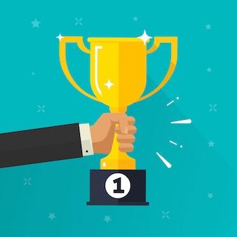 Winner success or award golden cup in hand flat cartoon illustration
