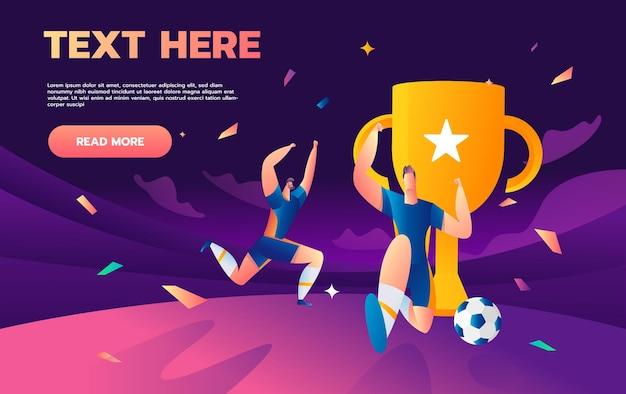 Игрок команды победителя с футбольным мячом и трофеем кубка чемпиона на стадионе.