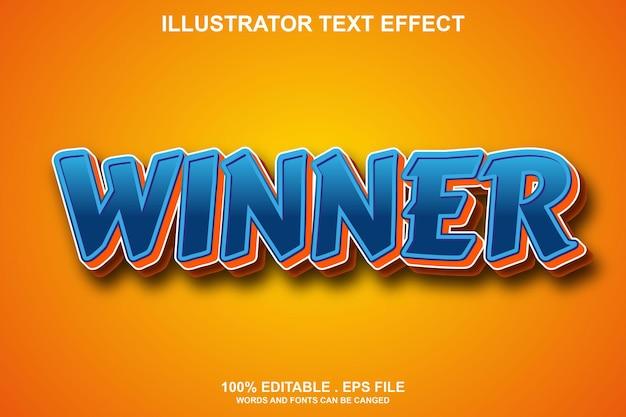 Редактируемый текстовый эффект победителя
