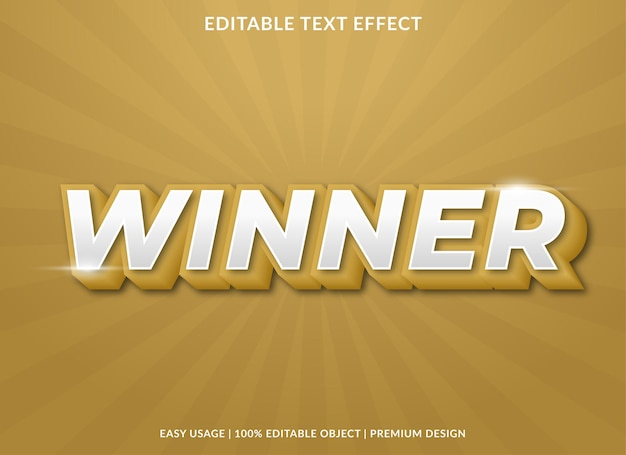 Winner text effect with 3d bold style