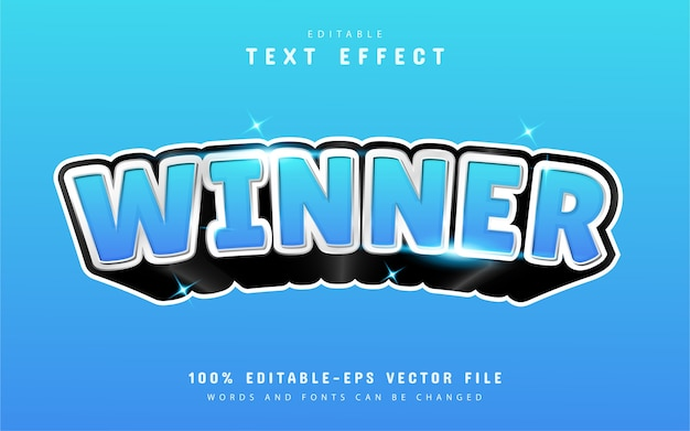 Winner text effect with blue gradient