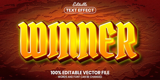 Текст победителя, редактируемый текстовый эффект стиля шрифта