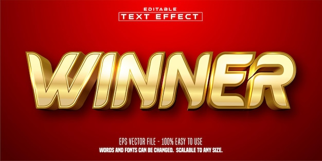 Winner text, shiny golden color style, editable text effect