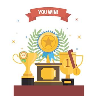 リボンと月桂樹の花輪のメダルで優勝トロフィーカップを設定します。