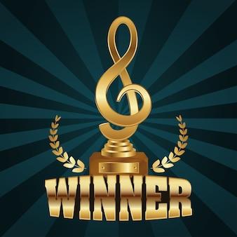花輪と金色の勝者のトロフィーの音符