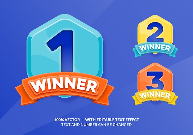 Winner with editable text effect