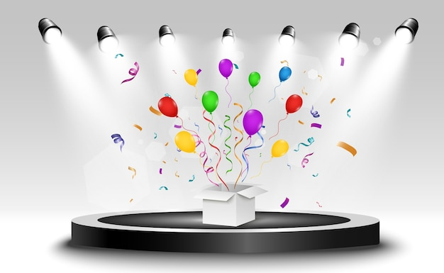 조명 효과, 색종이 및 축제 모자가있는 우승자입니다. 축하를위한 우승 그림.