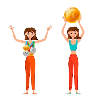 Winner woman with gold, silver, bronze medals isolated on white background. .