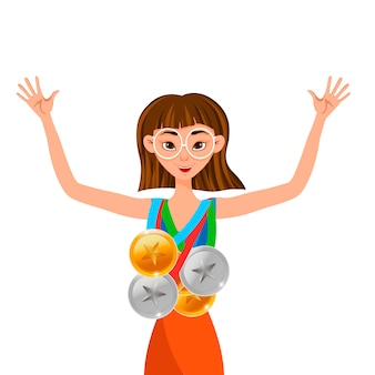 Winner woman with gold, silver, bronze medals