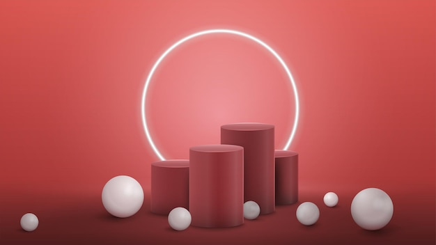 Winners pink cylindrical pedestals with large white realistic sphere around in pink room