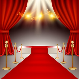 Winners podium with red carpet vector realistic illustration