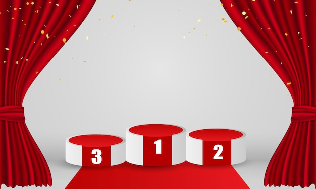 Winners podium with red curtain background. grand opening event design.