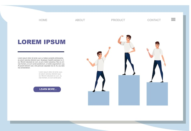 Winners podium with sports persons standing on it flat vector illustration on white background