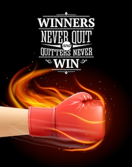 Winners and quitters quotes with sports symbols and boxing realistic illustration
